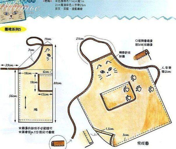 Ideas para el hogar: Delantal en costura con diseño y moldes ...