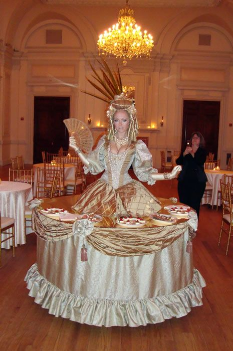LIVING STATUES U0026 ART | SMASH PARTY ENTERTAINMENT | NEW YORK   Marie  Antoinette Strolling Table