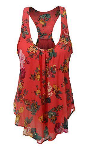 e78a82f05127 Uncinba Women's Plus Size Sleeveless Floral Chiffon Vest Tank Racerback Tops ,Red,Large