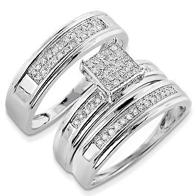 discount engagement rings this silver diamond trio ring set consists of a pre set diamond engagement ring and 2 diamond wedding bands one for him and one - Cheap Diamond Wedding Rings