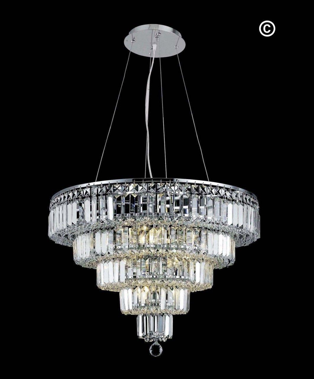 Modular 5 tier crystal pendant light chrome medium crystal designer chandelier australia pty ltd modular 5 tier crystal pendant light chrome medium arubaitofo Gallery