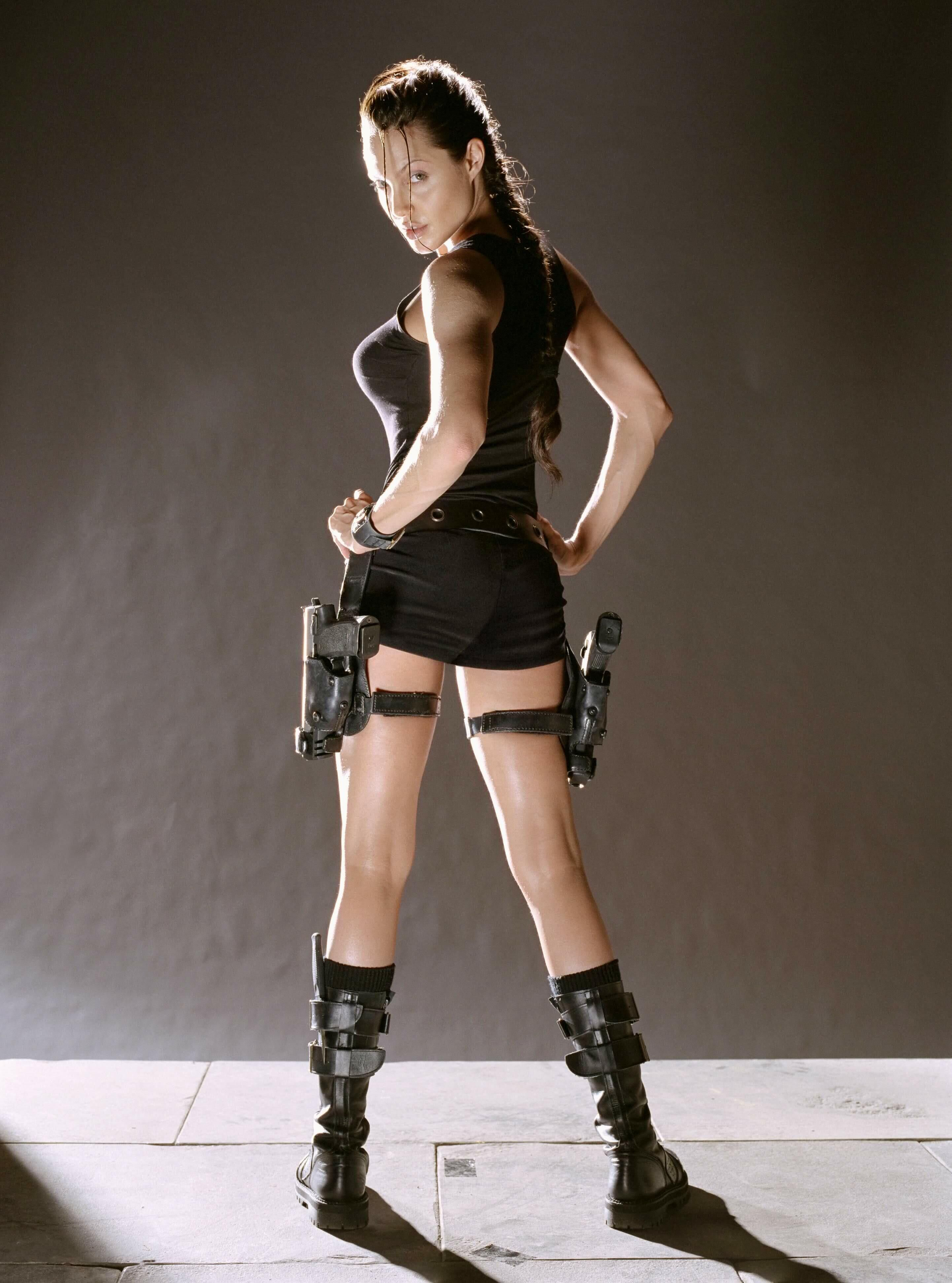 For that Angelina jolie as lara croft here against