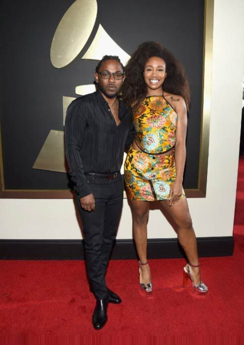 8db04f117d2b SZA with Kendrick Lamar on the red carpet for the 58th Grammy Awards in  February 2016.