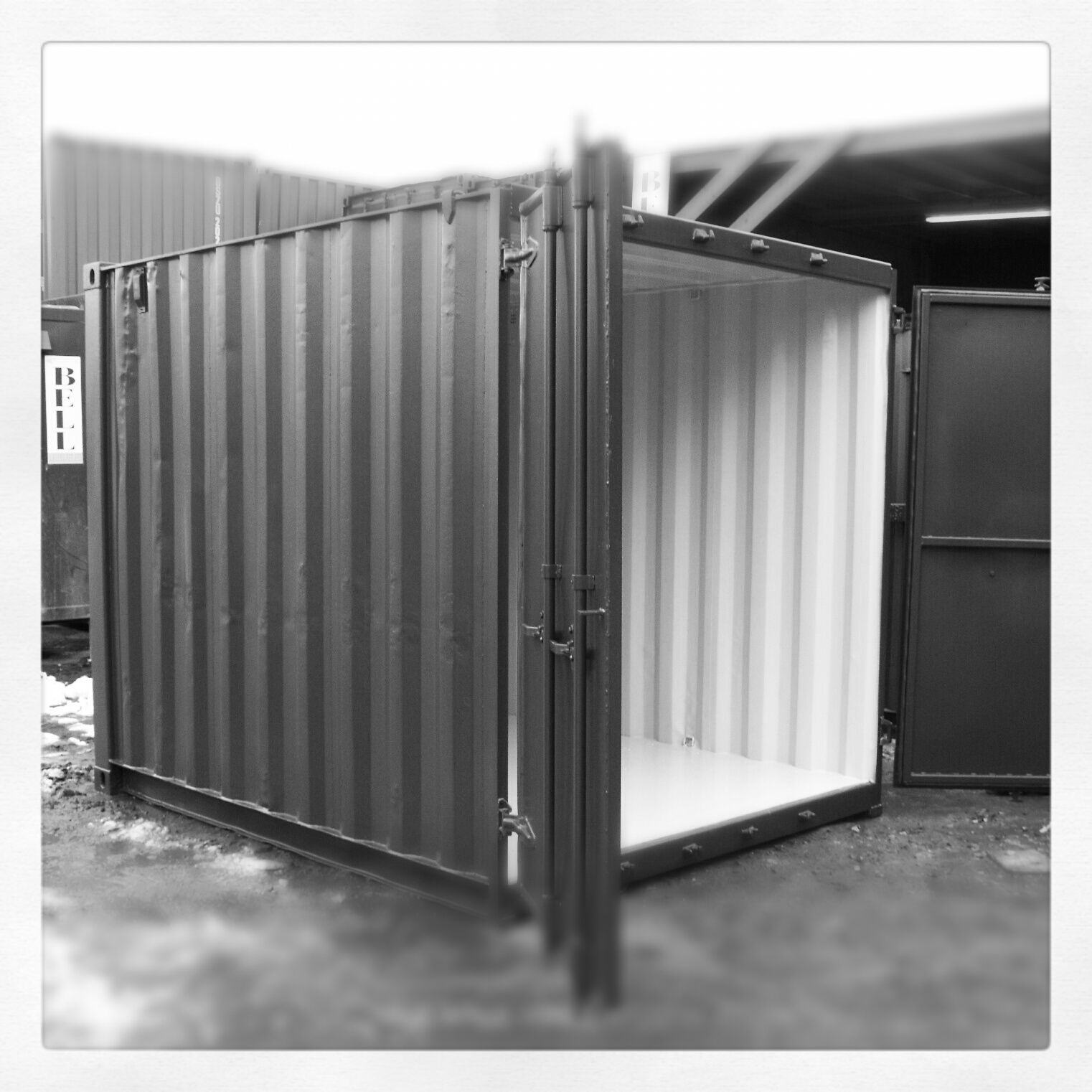 Black White Baby 10ft Shipping Container Conversion For Furniture Storage Complete With Special Anti Conde Container Conversions Storage Furniture Storage