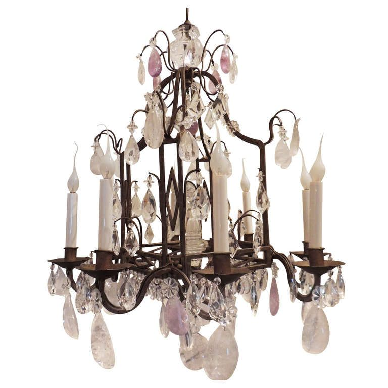 Unusual bagues square eight light gilt iron and amethyst rock an unusual bagues square eight light gilt iron cut crystal amethyst rock crystal chandelier aloadofball Image collections