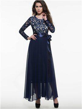 Blau Patchwork Langarm Gürtel Maxikleid Kleider Für Frauen Günstige Kleider Etuikleid