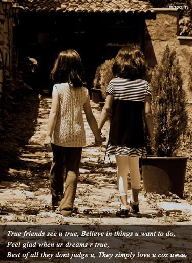 Two Little Girls Friendship With Friendship Quote HD Wallpapers