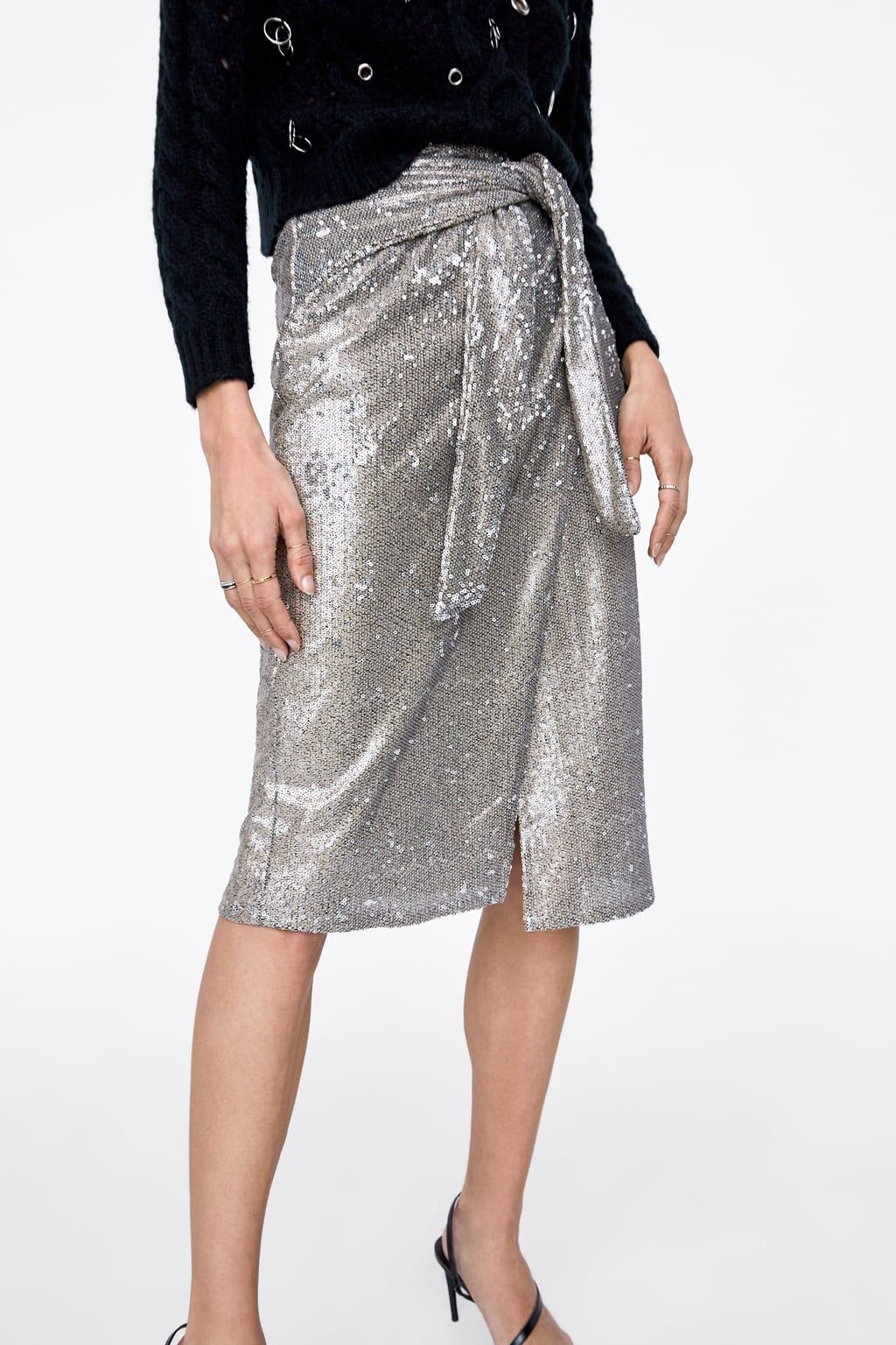 16548f9eb0 Image 2 of KNOTTED SEQUIN SKIRT from Zara