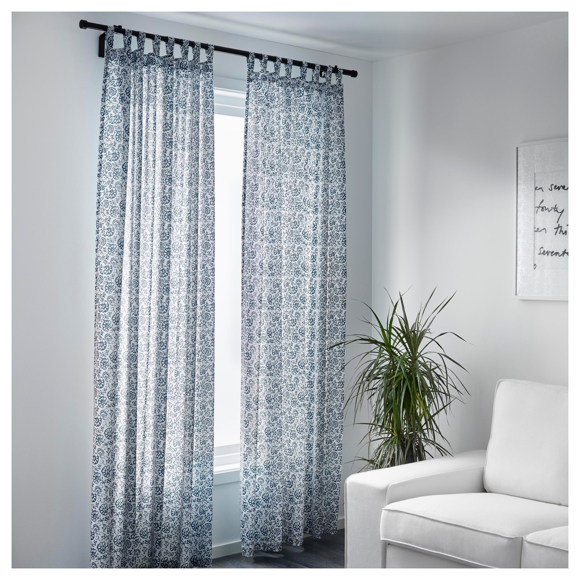 mj lk rt curtains 1 pair blue white 145x250 cm ikea. Black Bedroom Furniture Sets. Home Design Ideas