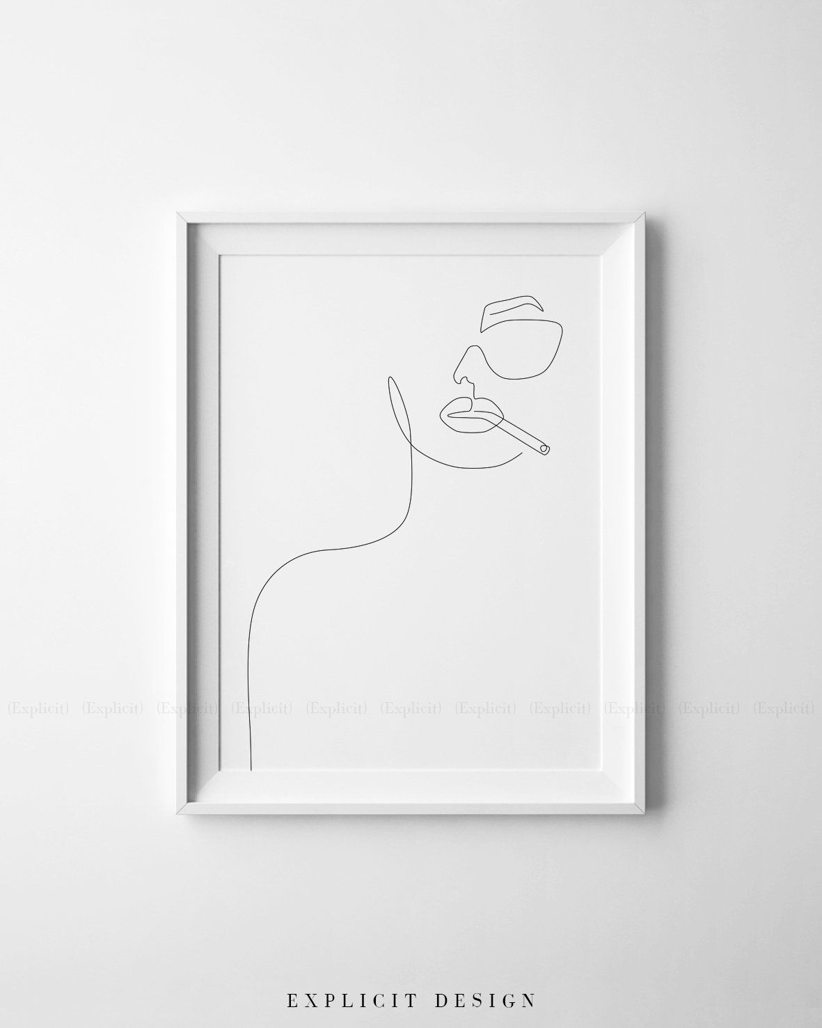 Minimalismus Kunst Printable Girl Face Outline Sketch One Line Sunglasses Drawing