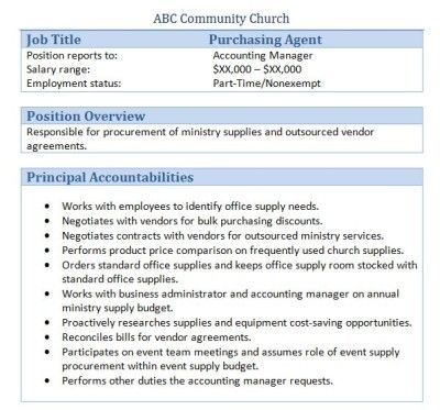 Sample Church Employee Job Descriptions Job description and Churches - purchasing agent sample resume