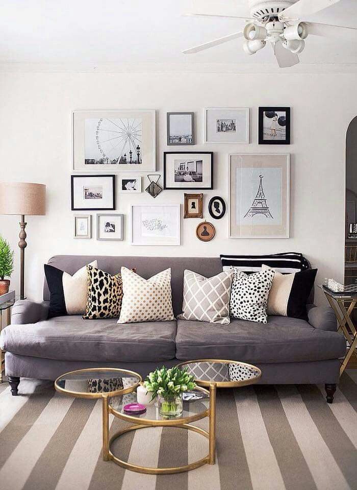 Travel Inspired Gallery Wall Modern And Chic Living Room Grey Beauteous Grey Couch With Decorative Pillows