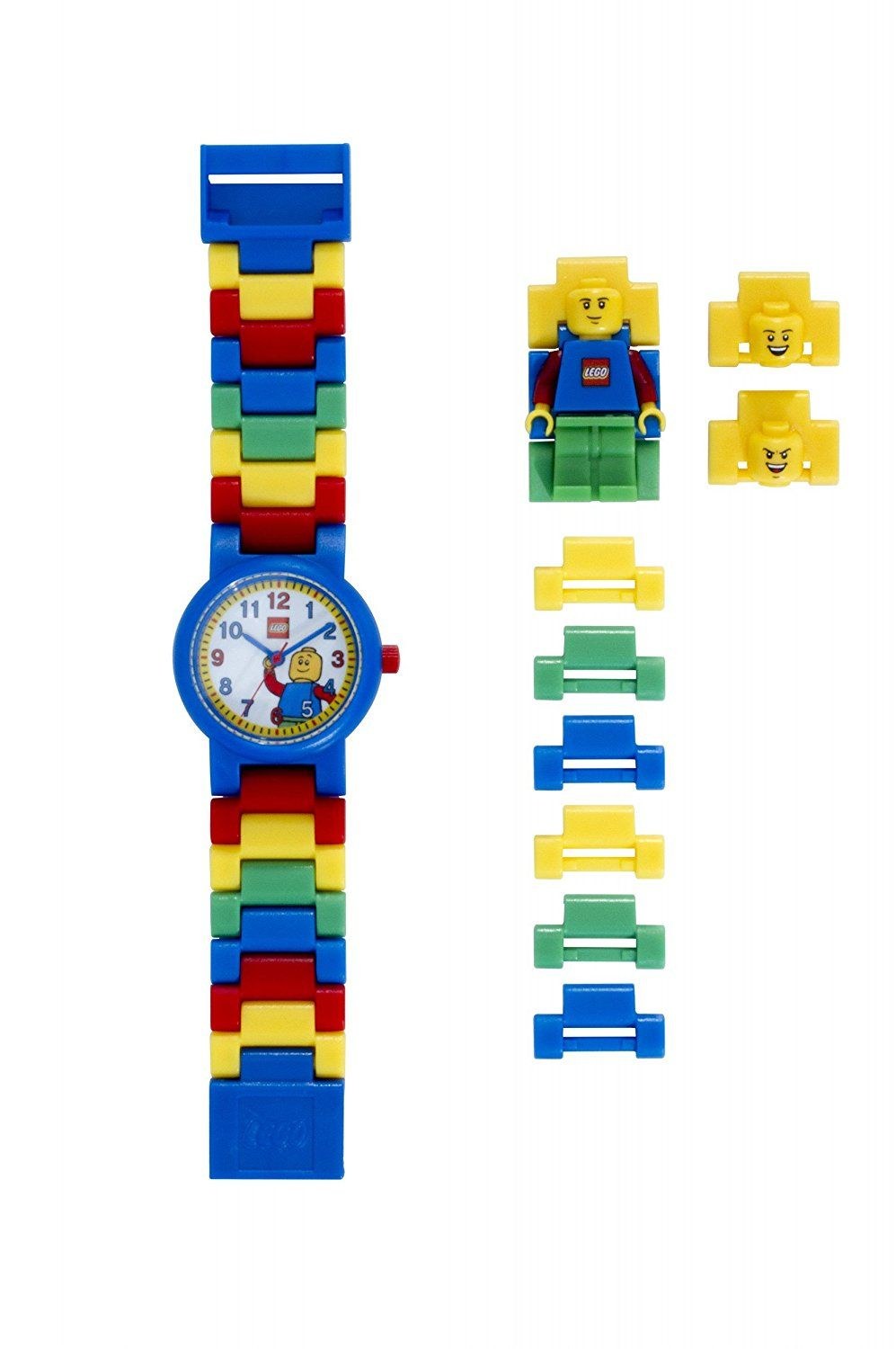 8fa54cee04f LEGO Classic Kids Minifigure Link Buildable Watch | black/yellow | plastic  | 28mm case diameter| analog quartz | boy girl | official -- Click image to  ...