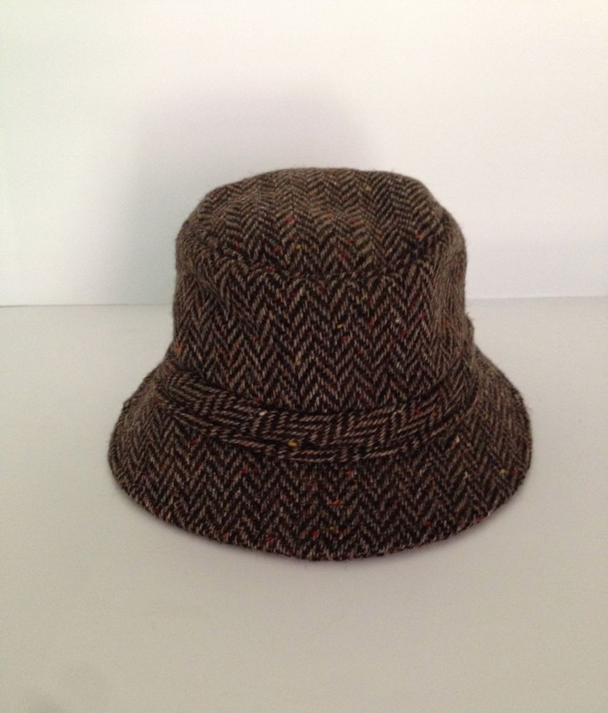 VTG Hats of Ireland Castlebar Hand Tailored Wool Herringbone Tweed Bucket  Hat  Bucket 58fba8b60c5