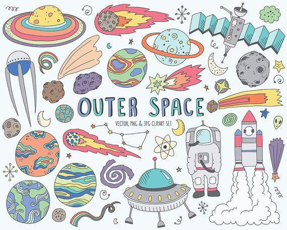 Art set. Space clipart cute doodles