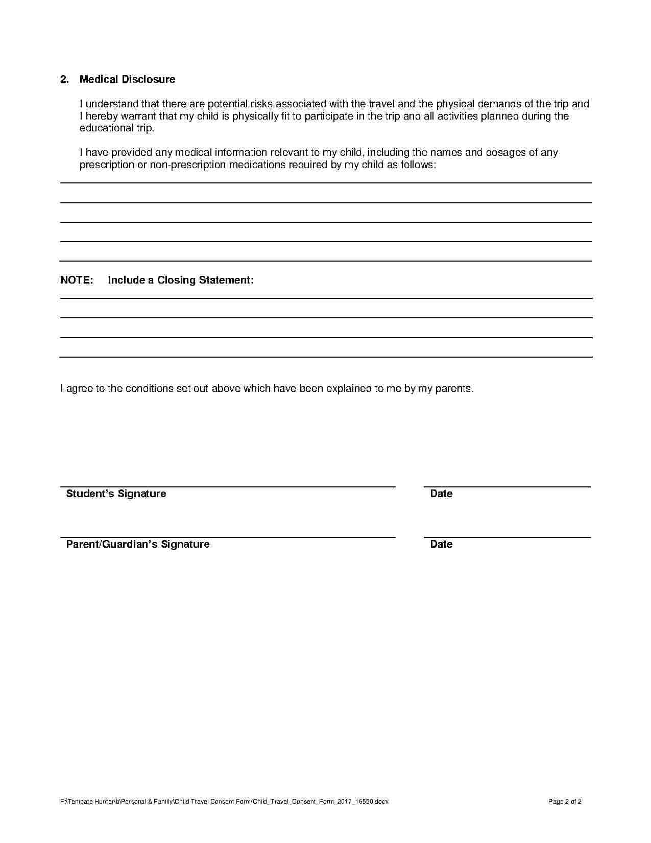 Child Travel Consent Form With Images Travel Consent Form