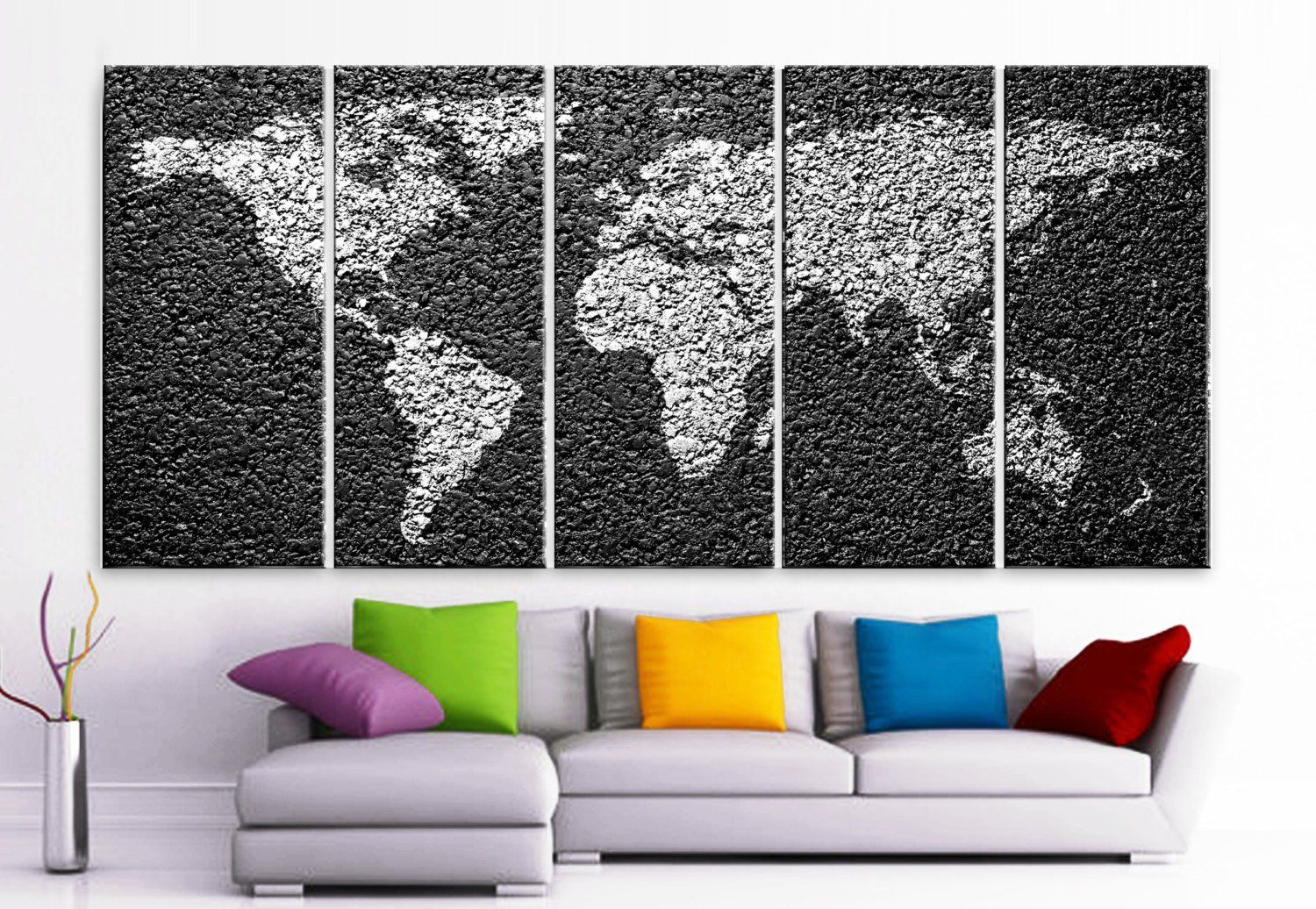 30x 70 5 panels art canvas print world map decorative concrete xlarge 30x 70 5 panels art canvas print world map decorative concrete texture wall home office gumiabroncs Image collections