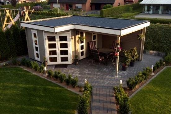 5Eck Gartenhaus Lindau40 mit Anbau 5 eck gartenhaus