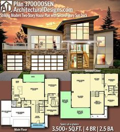 Plan 370000sen Striking Modern Two Story House Plan With Second Story Sun Deck Modern House Plans House Plans Two Story House Plans