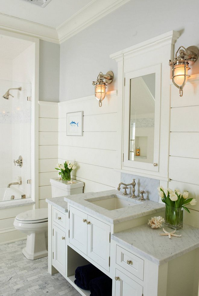 Beach House Bathroom Ideas | Beach House Bathroom Design With Shiplap Walls And Coastal Lighting