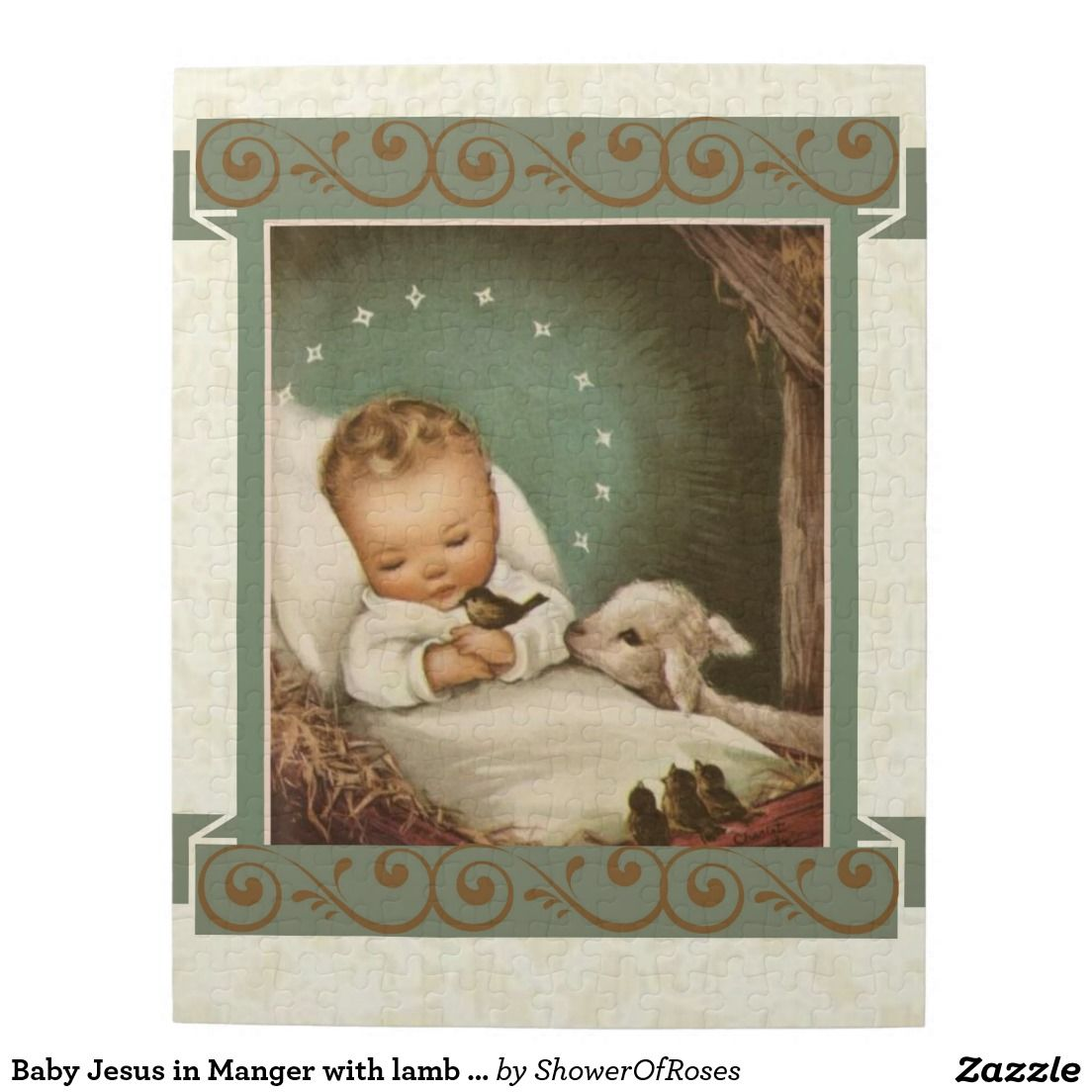 Baby Jesus In Manger With Lamb Bird Jigsaw Puzzle Zazzle Com Vintage Christmas Vintage Christmas Images Merry Christmas Eve