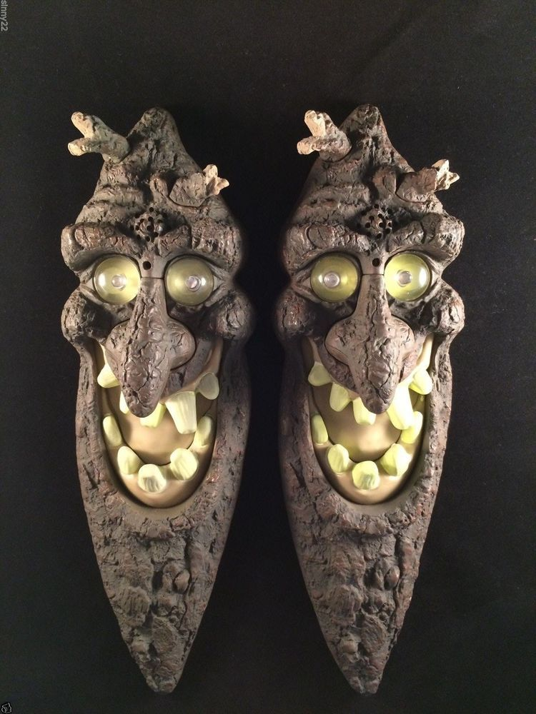2 Vintage Screaming Tree Face Animated Halloween Props Lighted Eyes - animated halloween decorations
