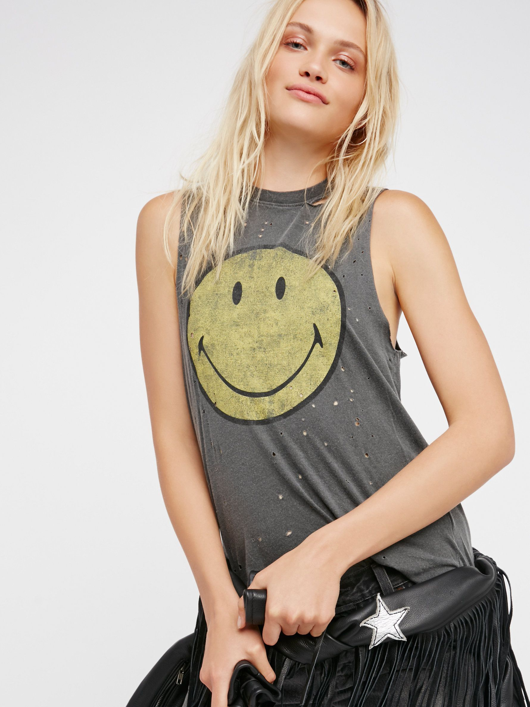 7d80da14b Smiley Tank | Distressed muscle tee featuring a smiley face graphic for  that perfect worn-in feel. * Exclusive collaboration with Daydreamer.