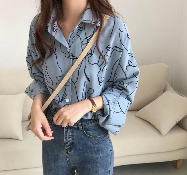 Ladies funky abstract faces Print shirts women sketch print blouse casual shirt
