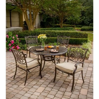 Elegant Hanover Traditions 5 Piece Outdoor Patio Dining Set With 4 Cast Aluminum  Dining Chairs