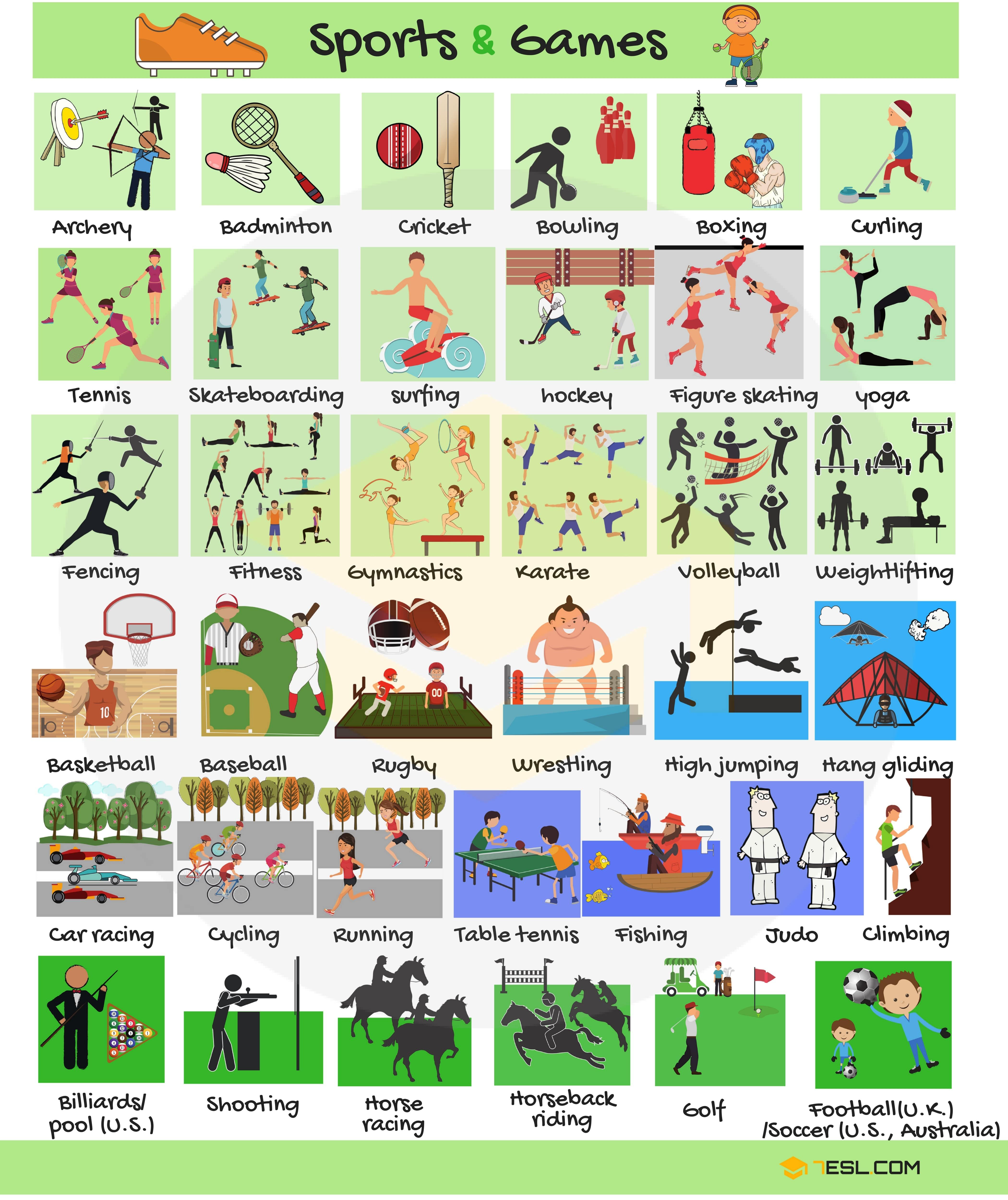 List Of Sports Names Of Sports And Games In English Vocabolario Inglese