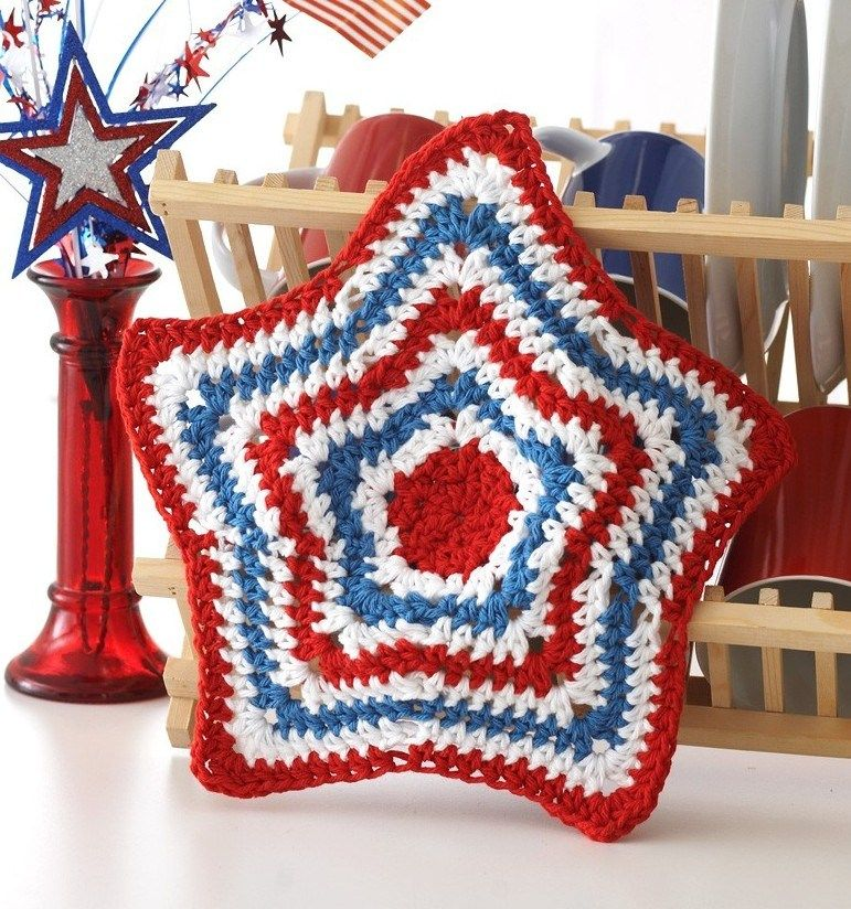Free knitting pattern for Star Dishcloth and more star knitting ...