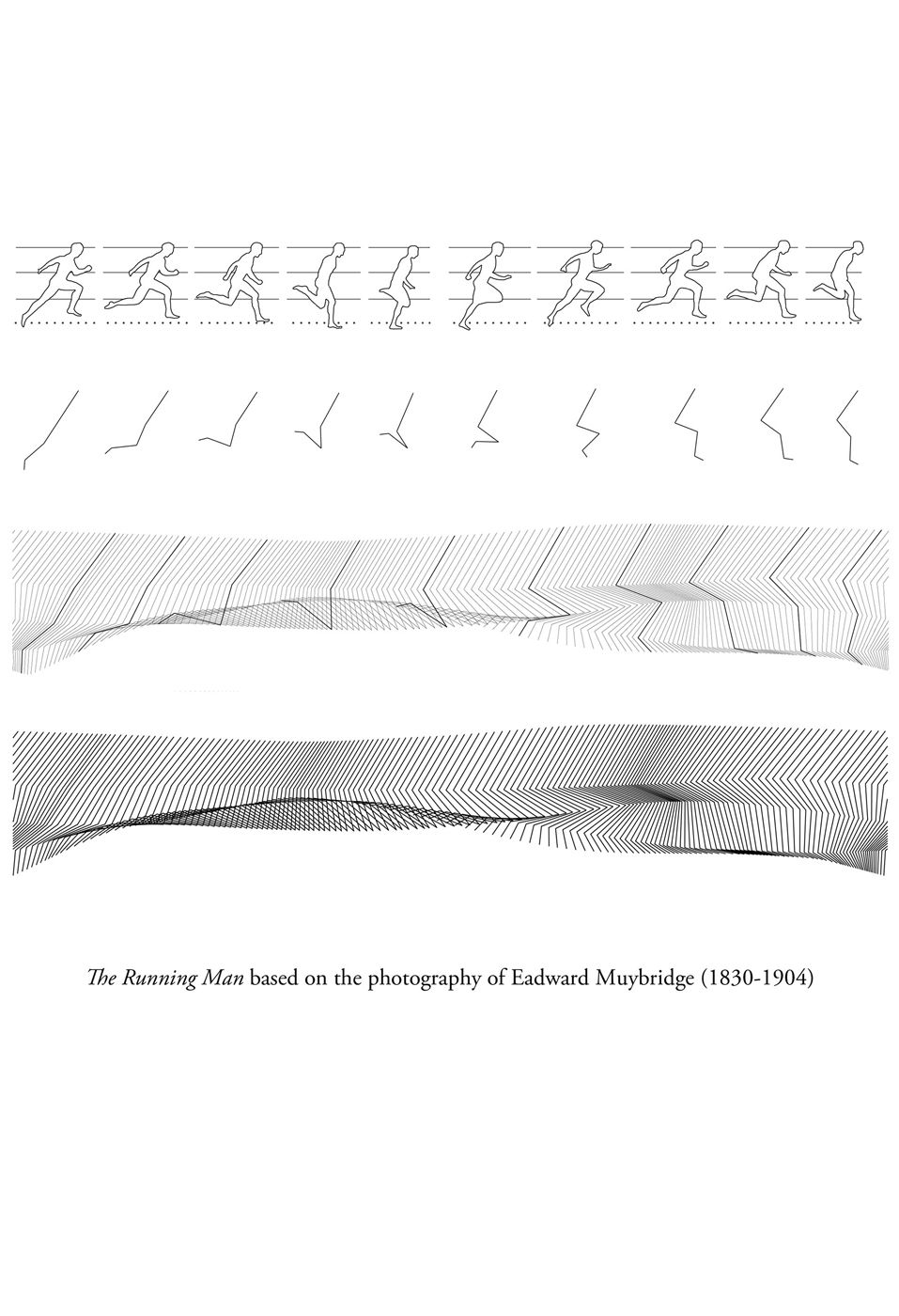 The facade patterning drew upon one of Eadward Muybridge's 19th Century photographic investigations into human movement, the Running Man.  Piercy&Company abstracted Muybridge's stop action photographs into a pattern that ripples across the building's facade, conveying a sense of motion and movement.