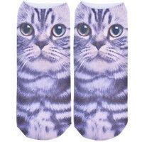 Fashion 3D Printed Animal Women Casual Socks Mini Cat Unisex Low Cut Ankle Socks Colorful Cotton Socks