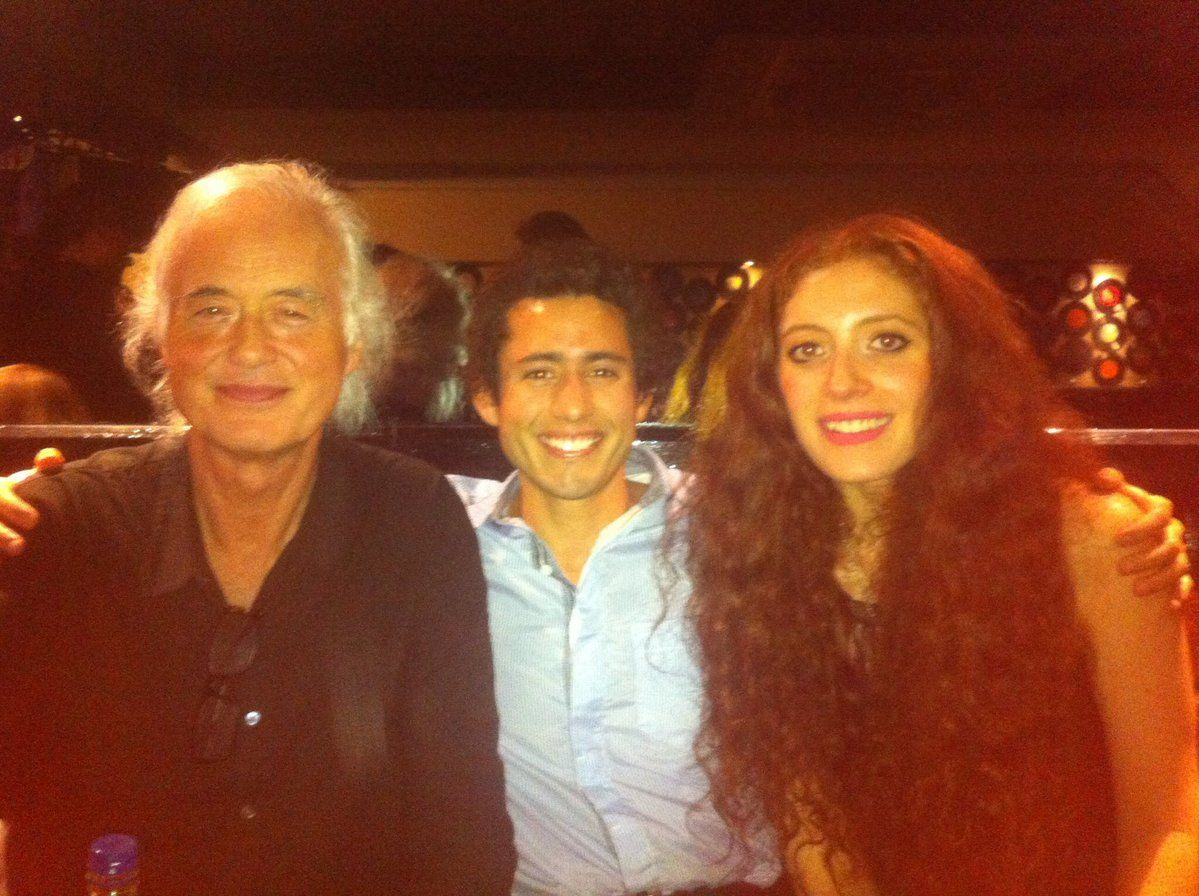 jimmy page with girlfriend scarlett sabet and friend led zeppelin stairway to heaven in. Black Bedroom Furniture Sets. Home Design Ideas