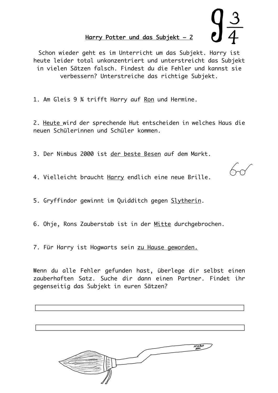 Harry Potter Und Das Subjekt2 Unterrichtsmaterial Im Fach Deutsch Harry Potter Unterrichtsmaterial Deutsch