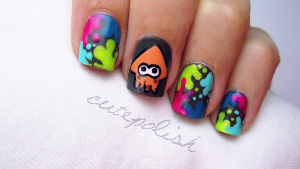 Splatoon nail art nerd nail series splatoon love pinterest