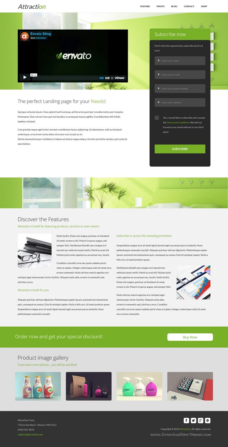 Attraction Responsive WordPress Landing Page Theme | Pinterest