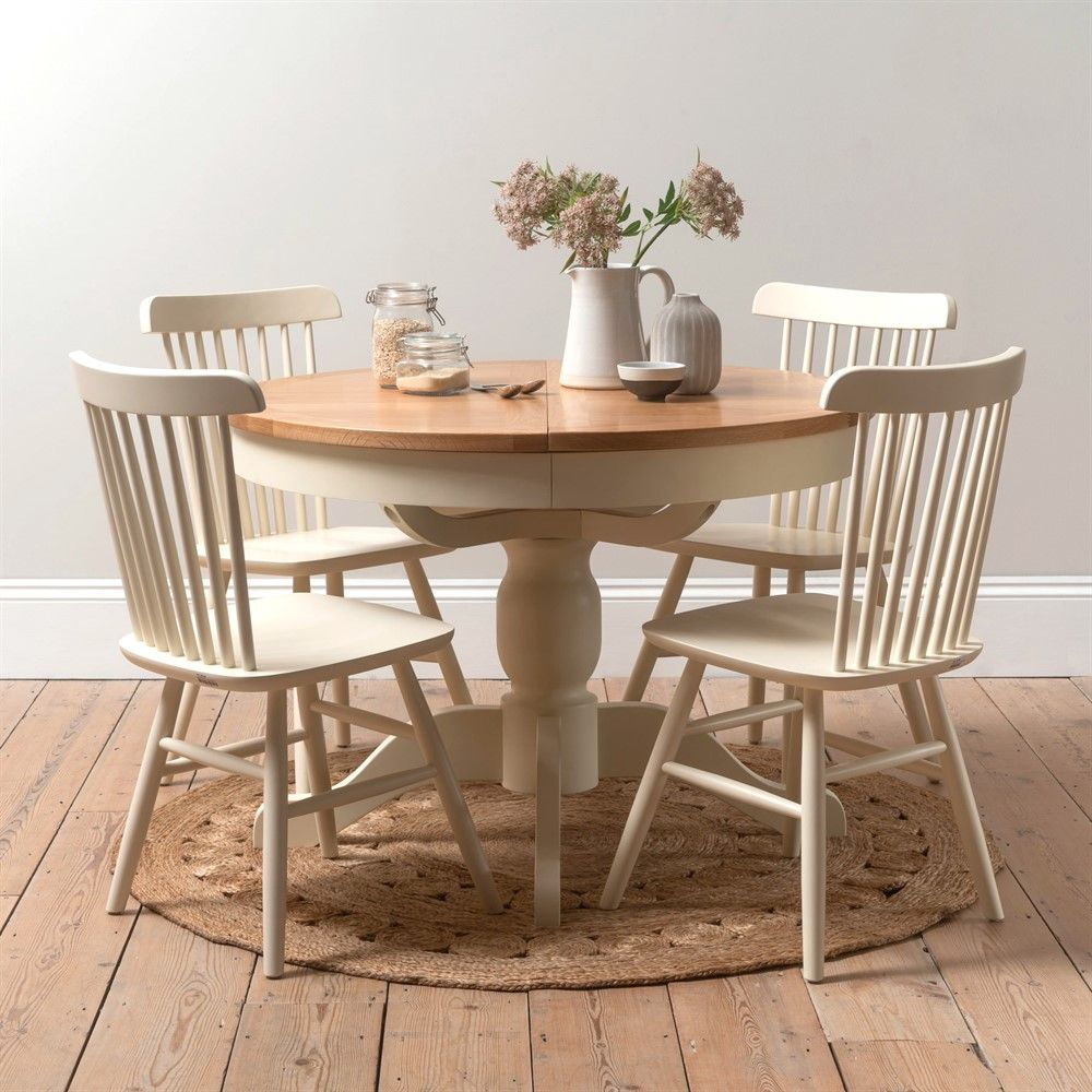 Sussex Cotswold Cream 9 9cm Round Table and 9 Spindleback ...