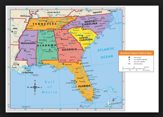 Map of the Southeast Region of the United States. Write each state ...