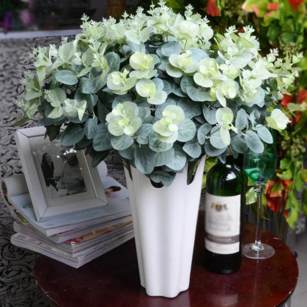 Artificial Fake Leaf Eucalyptus Green Plant Leaves Flower Home Decor 16 Heads AL