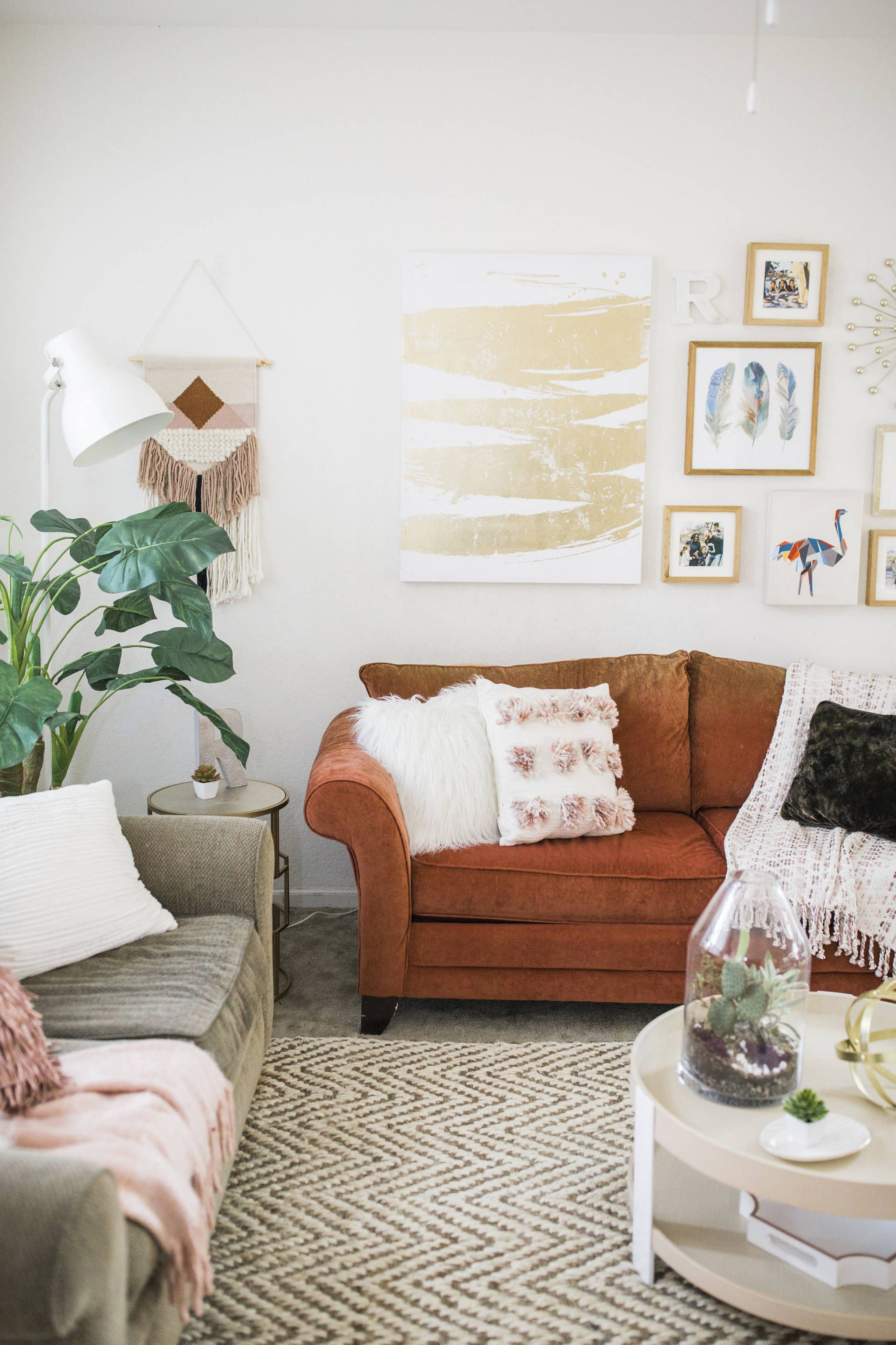 Bohemian Living Room Burnt Orange Couch Ruthie Ridley Blog Living Room Orange Burnt Orange Living Room Living Room Reveal #orange #living #room #accents