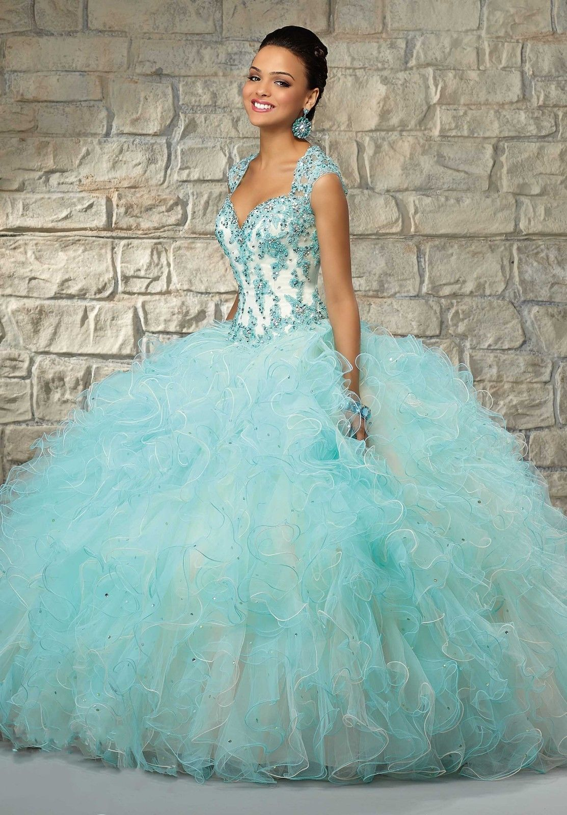 Teal and white wedding dresses  Cool Great Hot Sale Pretty Formal Prom Quinceanera Party Ball Gown