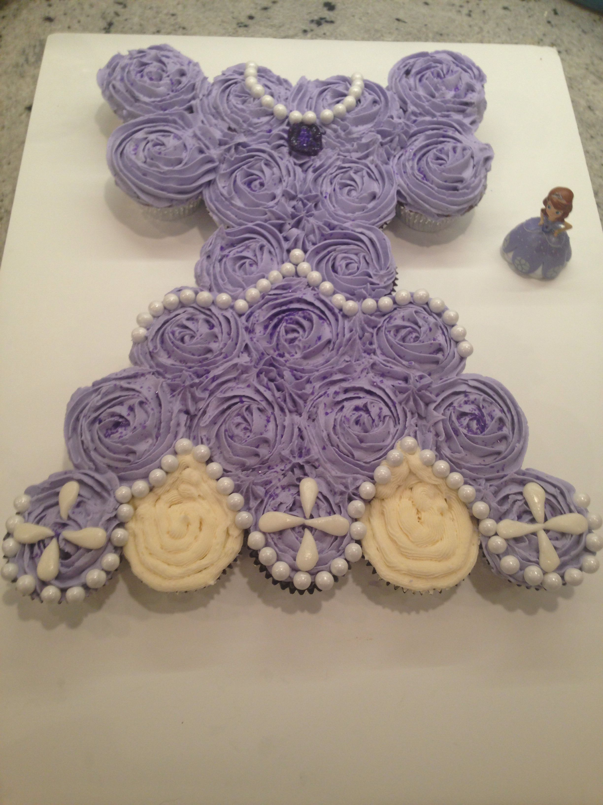 Sofia The First Cupcake Cake First Birthday Cupcakes Princess Cupcake Cake Sofia The First Birthday Party