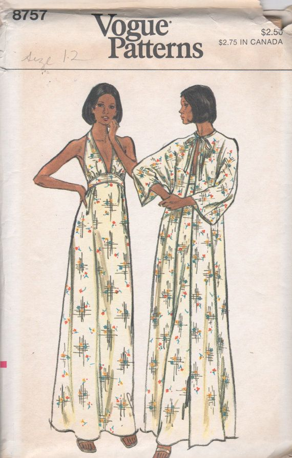 1970s Vogue 8757 Misses Lingerie V Neck Halter Top Nightgown and ...