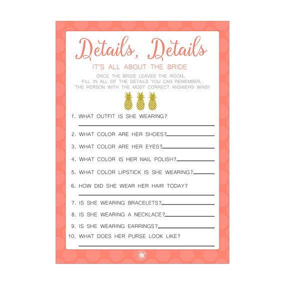 digital printable details game for bridal showers with gold