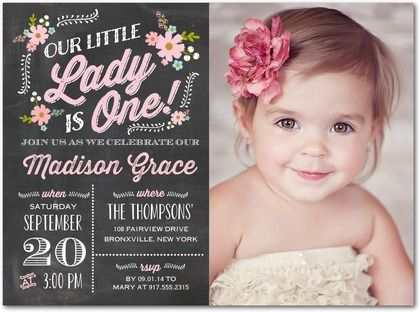 Precious One - Birthday Party Invitations - Portsmouth Card Co - free first birthday invitation template