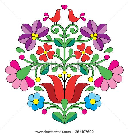 Kalocsai embroidery - Hungarian floral folk pattern with birds ...