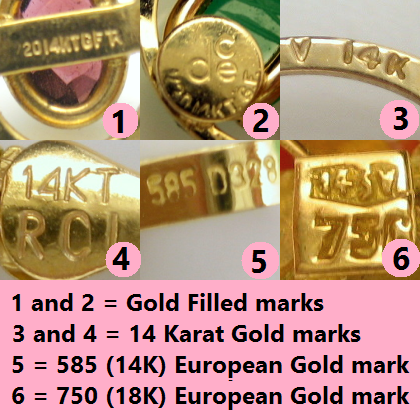 Vintage Jewelry Marks for Gold Purity Great to know for gold