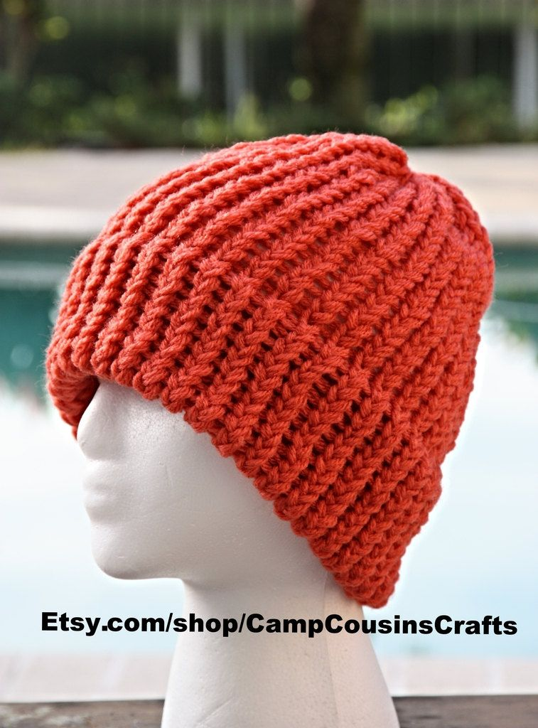 71fc044619323f CORAL knit hat,knit beanie,knitted hat,loom knit hat,watch cap | Hot ...