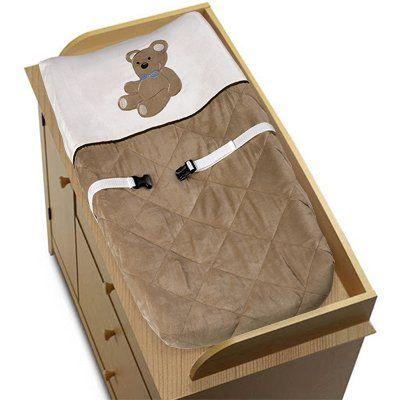 Amazon.com: Chocolate Teddy Bear Boys Changing Pad Cover by Sweet Jojo Designs: Baby